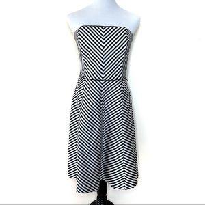 White House Black Market Chevron Strapless Dress